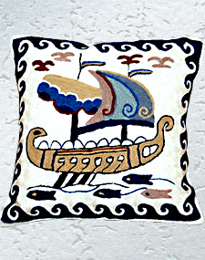 Boat Embroidered Cushion Cover