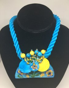 Blue Pottery Choker Necklace